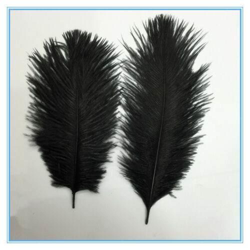 10pieces Ostrich Feathers for Millinery Clothing Hat Bag Decor 15-20cm Black