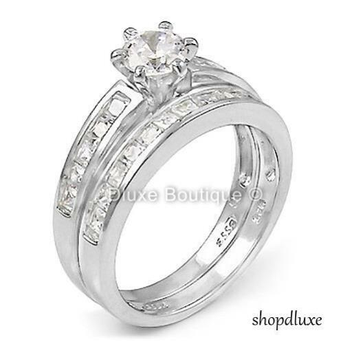 2.75 CT ROUND CUT CZ .925 STERLING SILVER WEDDING RING SET WOMEN/'S SIZE 4-11