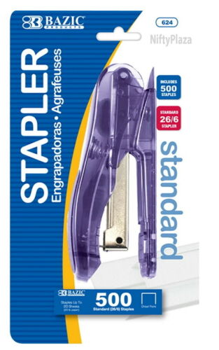 Transparent Standard Stapler with 500 Ct. 26//6 Staples Quality Set Hand Held