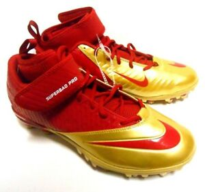 best service 73ce1 72c1b Image is loading Nike-Zoom-Superbad-Red-Gold-Cleats-Football-49ers-