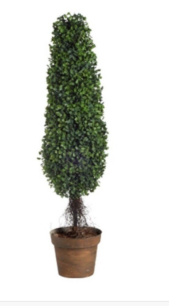 Boxwood Tree Artificial Boxwood Topiary Realistic 35x7.5x7.5 Indoor Outdoor Use