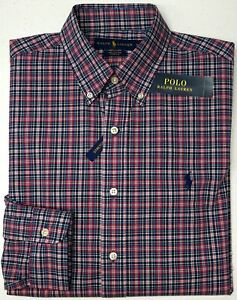 NWT-89-Polo-Ralph-Lauren-Stretch-Long-Sleeve-Shirt-Mens-M-Pink-Navy-Blue-Plaid