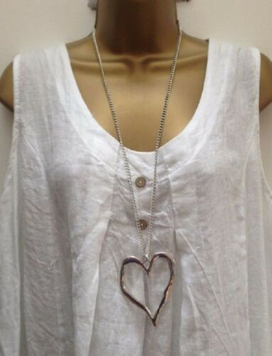 New Ladies Lagenlook Silver Colour Long Big Abstract Heart Necklace Pendant uk.