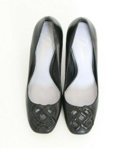 in pelle Carriera pompe logo 5 donne 9 alti talloni nero Delman tacco degli delle BqwaB86