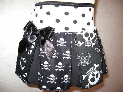 NEW Baby Girls Black red white skulls spotted pirates check cheerleader Skirt