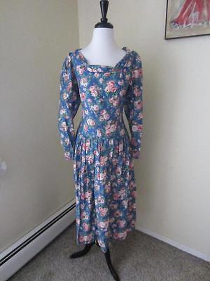 Vintage 1980's Eileen West Pink & Blue Garden Party Dress Rose Print Floral 12 L
