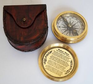 Brass Compass Black Leather Case Dollond London Flat Pocket Survival Compass