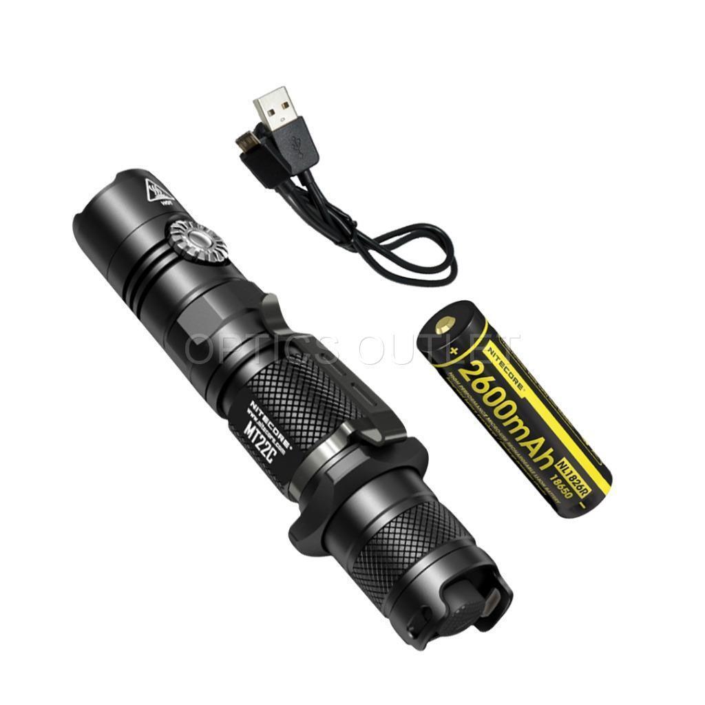 NITECORE MT22C 1000 Lumen redary Switch Flashlight, Rechargeable Battery, Cable