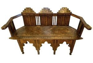Moroccan Carved Bench Settee with Mother of Pearl Inlay Moorish