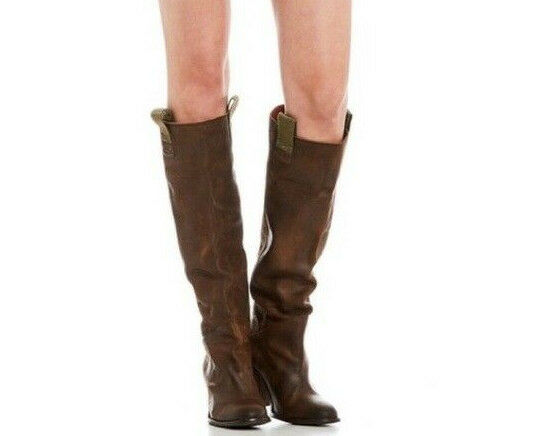 248 Free People Montgomery Khaki Brown Leather Slouch Boots EU 38 US 7.5 8