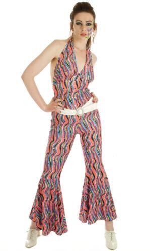 LADIES DISCO FEVER 1970S FLARED JUMPSUIT FANCY DRESS COSTUME