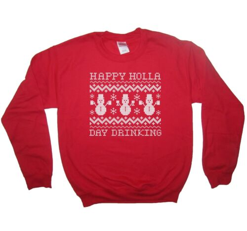 happy holla day drinking christmas sweatshirt funny holiday ugly sweater party
