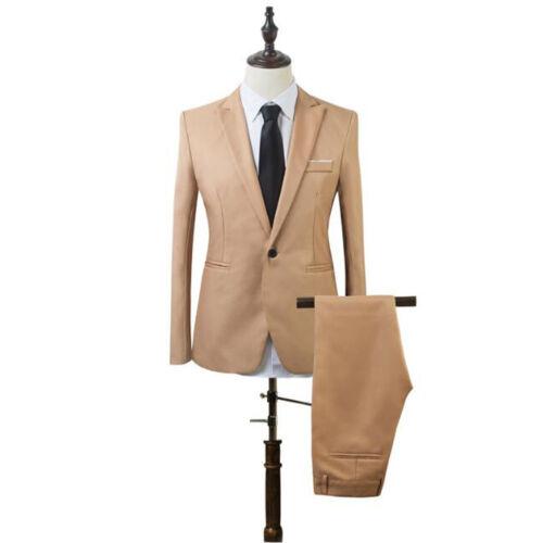 2PCS Men/'s Formal Blazer Jacket Suit Tuxedo Coat Pants Trousers Wedding Party