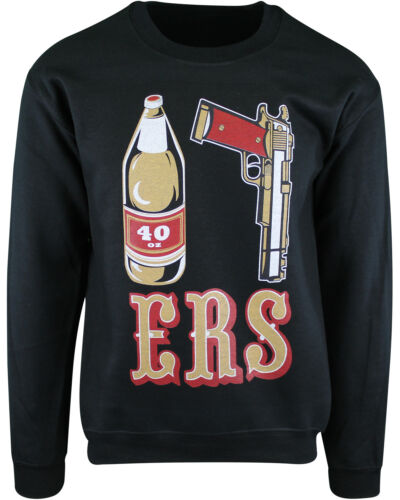 Mens Black 49ers 40 OZ 9MM Gold Gun Crewneck Sweater