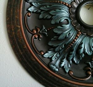Elegant Hand Painted Turquoise Copper Ceiling Medallion