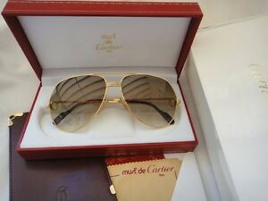 6681a935863 Image is loading VINTAGE-CARTIER-VENDOME-MEDIUM-59MM-BROWN-LENS-SUNGLASSES-