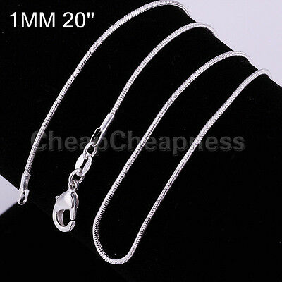 Attractive Cool 1mm 925 Sterling Silver Plated SNAKE Chain Necklace Copper CBAU
