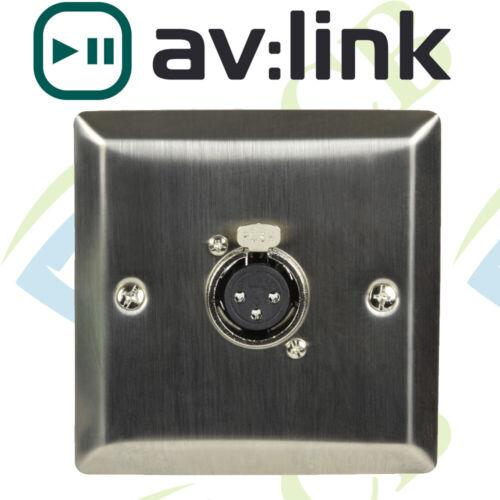 AV:Link Steel Wallplate with XLR Socket Multimedia Socket Speaker Microphone