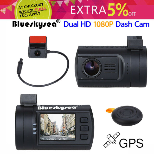 Blueskysea Mini 0906 Dual HD 1080P Lens Car Dash Camera Remote Control Loop Fast