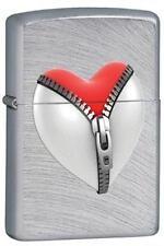 Zippo 28327 heart and zipper chrome arch Lighter