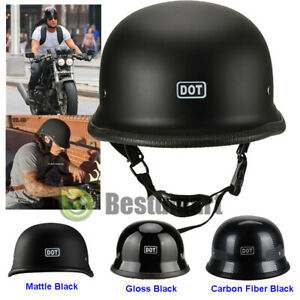 DOT Motorcycle Matte Black German Half Face Helmet Chopper Cruiser Biker M/L/XL Automotive