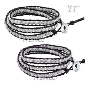 TTstyle-Leather-Triple-Row-White-Turquoise-Bead-Bracelet-Two-Colors-Available