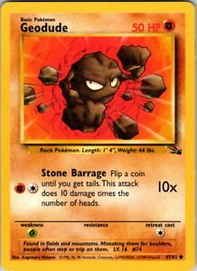 1999 Vintage Basic Pokemon Geodude Common Fossil Set 47/62 50 HP Single Card
