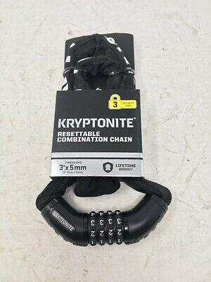 Bike Chain Lock Kryptonite Resettable Combination Chain Lock NEW 3/' x 5mm