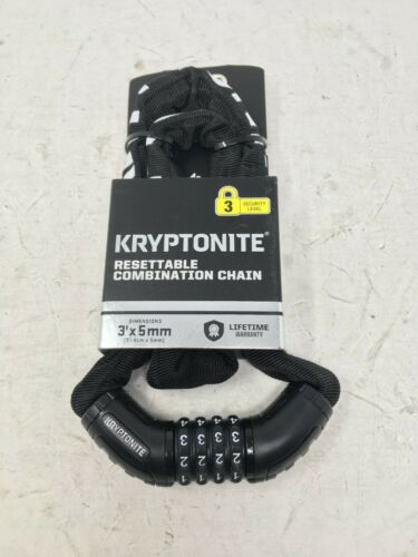 Kryptonite Resettable Combination Chain Lock Bike Chain Lock 3/' x 5mm NEW
