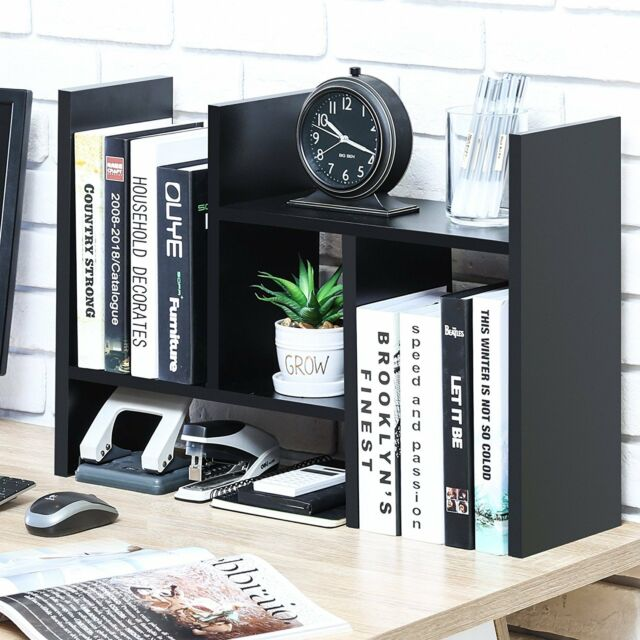 Desktop Organizer Table Top Bookshelf Office Supplies Wood Mesh Drawers  Black