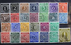 27 Briefmarken Deutsche Post 1 Pfennig -1 RM Alliierte Besetzung 1946 gestempelt