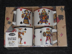 HAND-PAINTED-MUGS-Tabletops-Gallery-King-of-Hearts-Set-of-Four