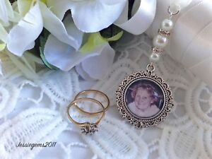 Bridal Bouquet Photo Memory Charm Memorial Photo Round Frame Charm