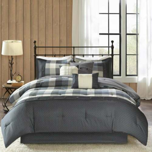 NEW! ~ COZY CLASSIC BLACK WHITE GREY LOG COUNTRY CABIN LODGE PLAID COMFORTER SET