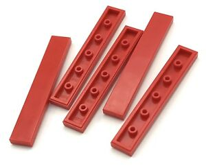Lego-Lot-of-5-New-Red-Tiles-1-x-6-Tiles-Flat-Smooth-Tiles-Pieces-Parts