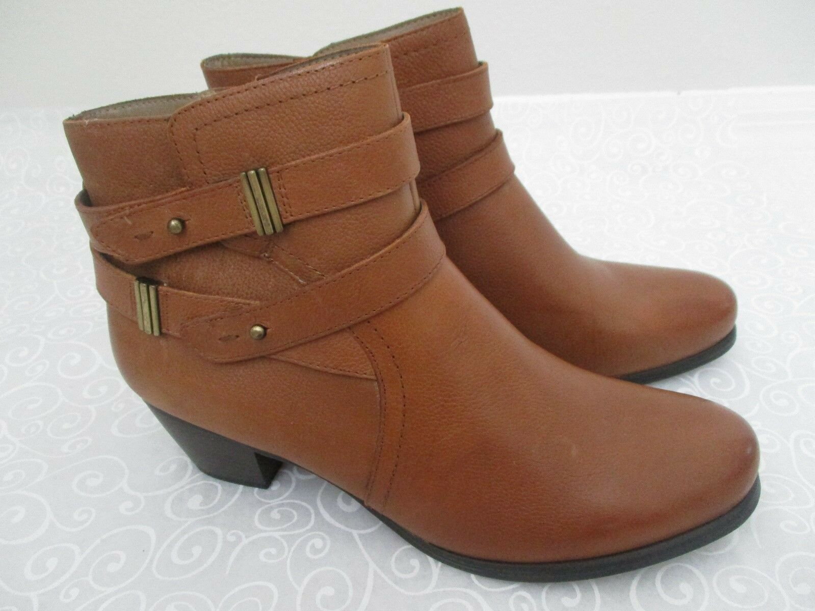 99 NATURALIZER KARMIC marron LEATHER ANKLE bottes Taille 11 W - NEW