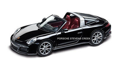 Porsche 911 Targa 4S Diecast Model 1:43 Scale 991.2 Black w/ Black Bordeaux Red