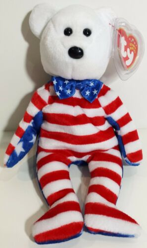 "White Face TY Beanie Babies /""LIBERTY /"" USA PATRIOTIC TEDDY BEAR MWMTs GIFT!"