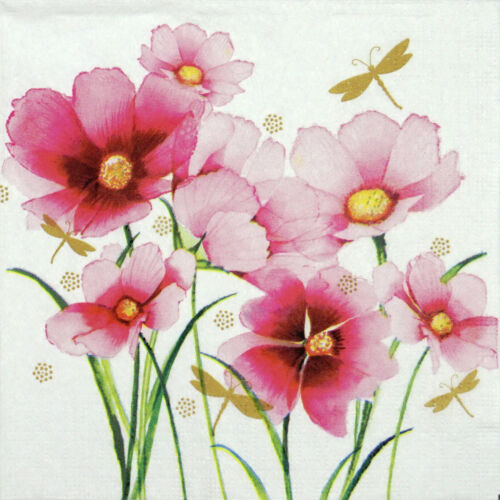 4x Paper Napkins for Decoupage Decopatch Craft Flowers and Dragonfly