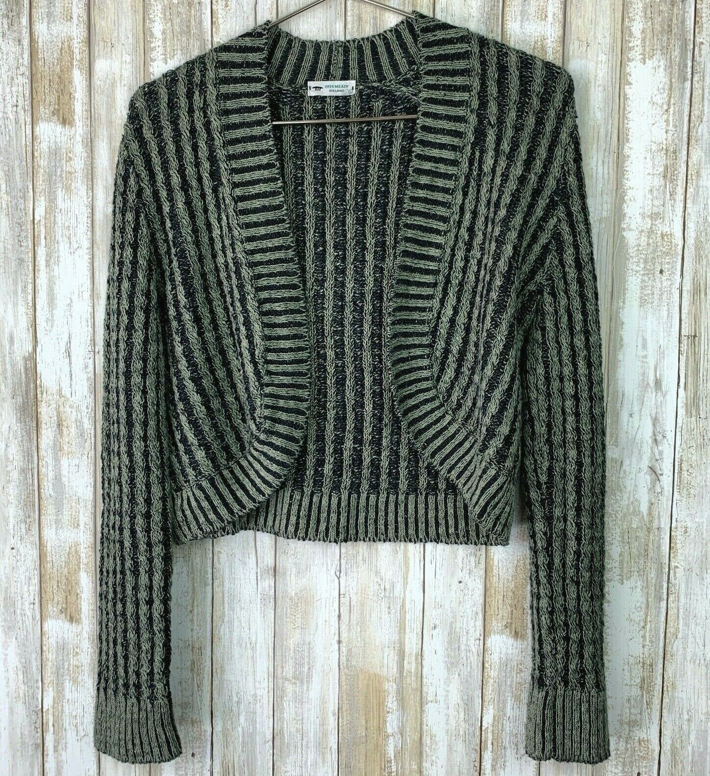Inis Meain Linen Loose Knit Open Sweater Green Gr… - image 1