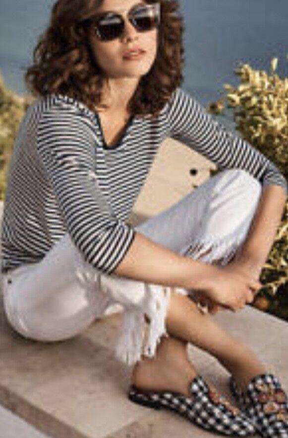 NEW Anthropologie Pilcro white Distress Fringe Mid Rise Boyfriend Jean Pants 25