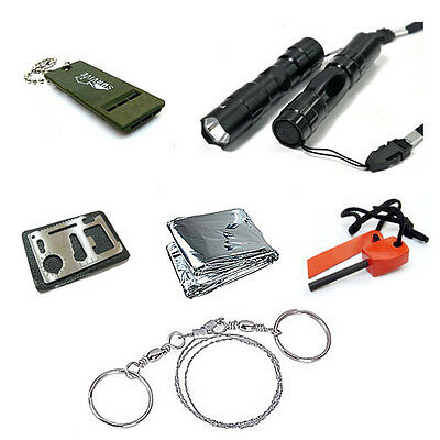 Outdoor Survival Kit Whistle Fire Starter Wire Saw Cree Torch Blanket Knife Gear