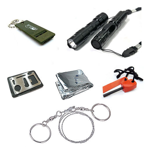 Survival Kit Whistle Fire Starter Wire Saw Cree Torch Emergency Blanket S knife