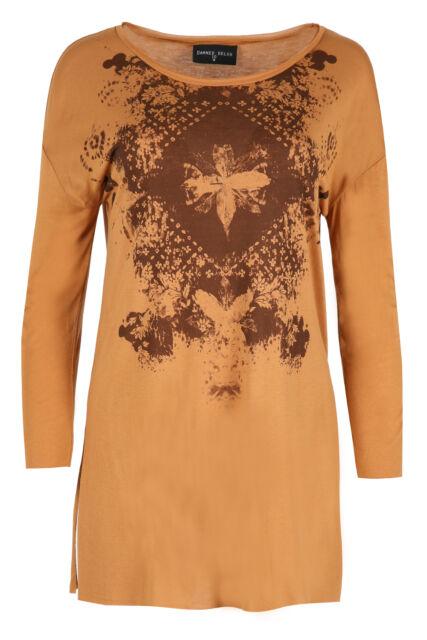 Women's Side Split Tunic Graphic Moth Print Burnt Orange Top Ladies Long Sleeve