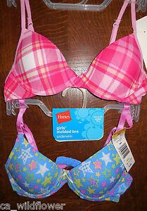 Hanes girls teen tween molded underwire t shirt 2 bras for Hanes t shirt underwire bra