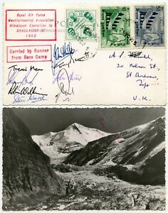 MOUNTAINEERING-NEPAL-DHAULAGIRI-PPC-8-SIGNATURES-RAF-EXPEDITION-1965
