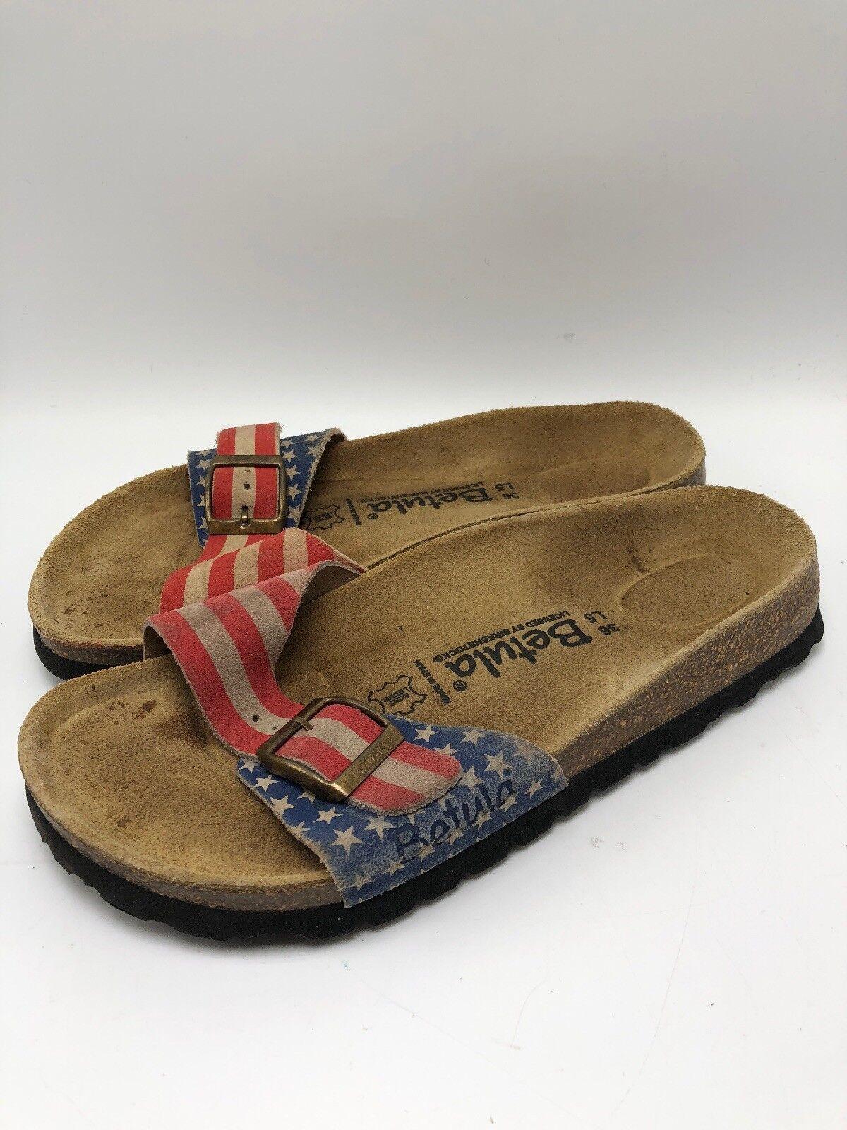 Betula by BIRKESSTOCK 36 RARE American Flag Single Strap  SANDALS SUEDE - USA 4th  promozioni eccitanti