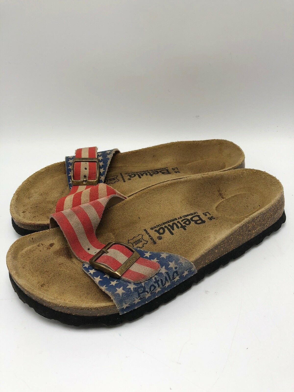 Betula by BIRKESSTOCK 36 RARE American Flag Single Strap  SANDALS SUEDE - USA 4th  fabbrica diretta