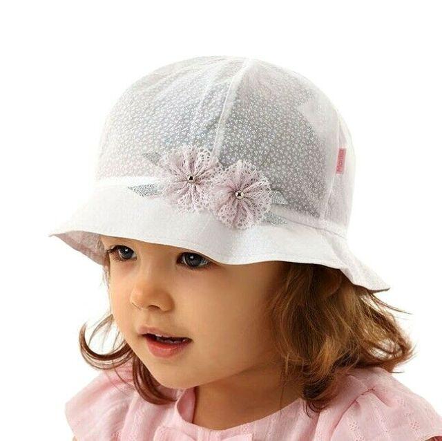 adelleo Baby Mädchen Sommer Hut Mütze Sommerhut Kindermütze Taufe Baumwolle
