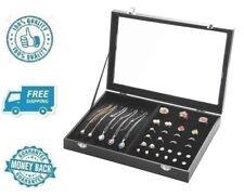 New Jewelry Tray Necklace Ring Organizer Earrings Showcase Storage Lockable Box